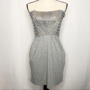 Costa Blanca Gray Embellished Body Con Mini Dress